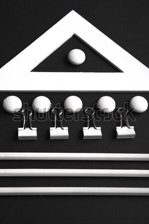 Stock fotó: Felső · kilátás · kép · irodaszerek · fekete · asztal