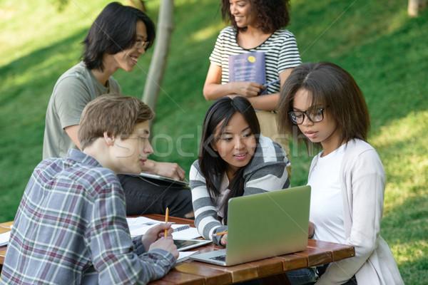 Felice gruppo giovani studenti seduta studiare Foto d'archivio © deandrobot