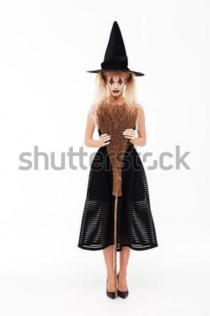 Tam uzunlukta görüntü gülme kadın halloween kostüm Stok fotoğraf © deandrobot