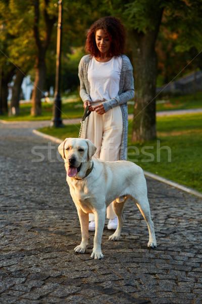 Atış güzel sağlıklı genç bayan yürüyüş Stok fotoğraf © deandrobot