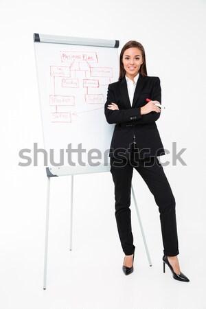 Incroyable femme d'affaires permanent image Photo stock © deandrobot