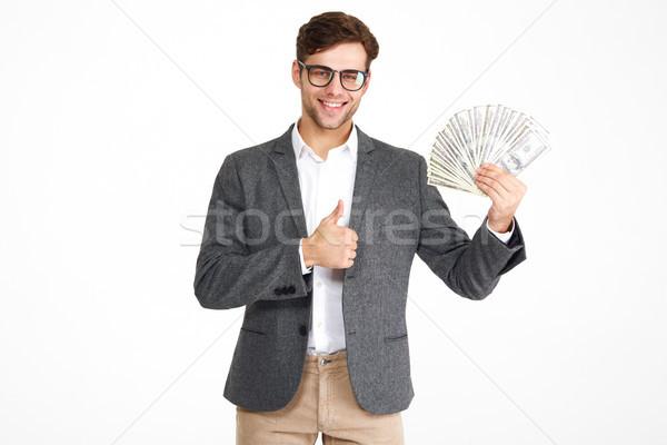 Retrato feliz satisfeito homem óculos jaqueta Foto stock © deandrobot