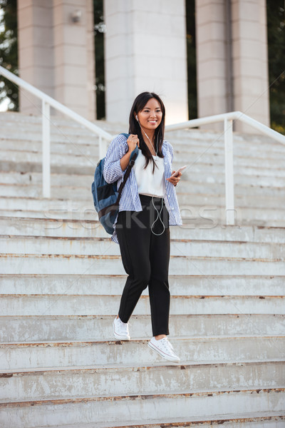 Full-length portrait of young happy asian woman, walking down st Stock photo © deandrobot