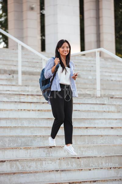 肖像 小さな 幸せ アジア 女性 徒歩 ストックフォト © deandrobot
