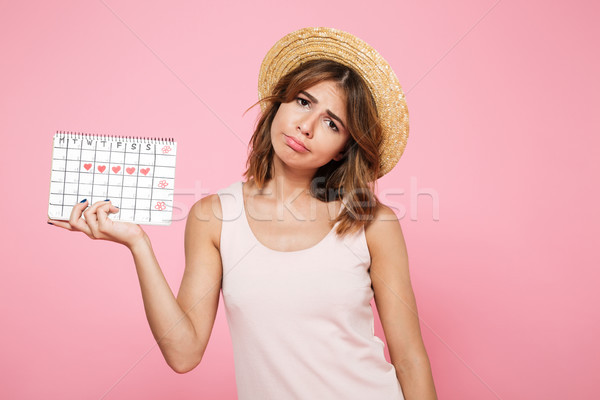 Portrait of a sad unhappy girl in summer hat Stock photo © deandrobot