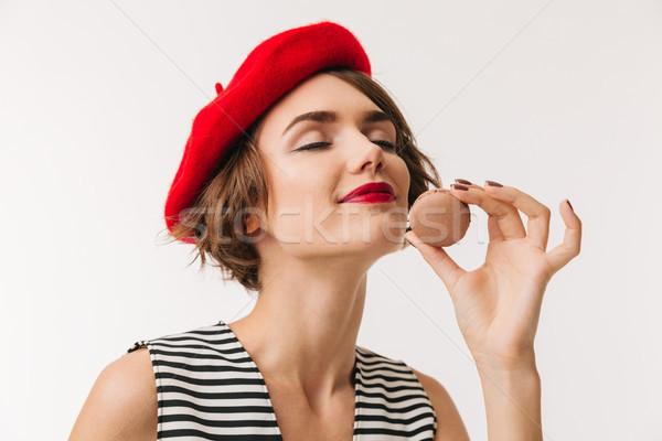 портрет удовлетворенный женщину красный берет Сток-фото © deandrobot