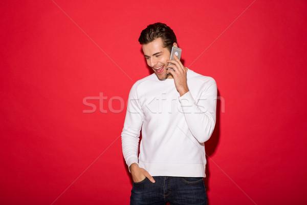 圖片 男子 毛線衣 說 智能手機 商業照片 © deandrobot