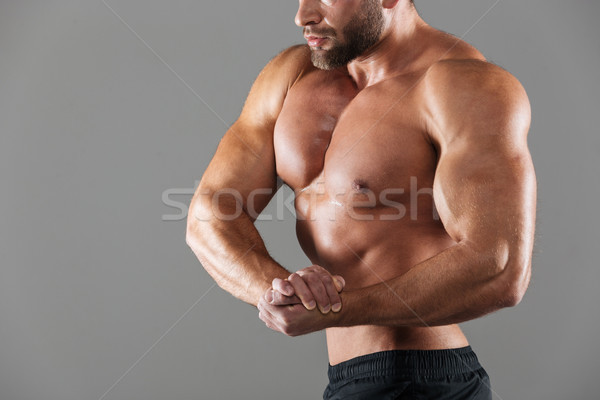 Cropped image of a muscular fit shirtless male bodybuilder Stock photo © deandrobot