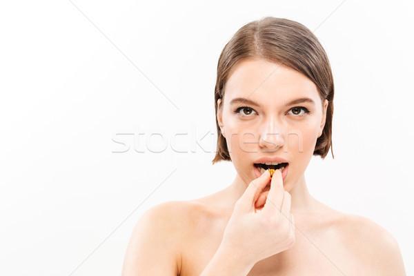 Piękna portret młodych półnagi kobieta krótki Zdjęcia stock © deandrobot