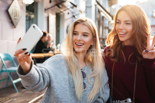 Two happy cheerful girls taking a selfie while sitting together Stock photo © deandrobot
