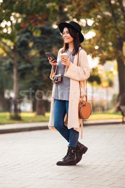 Fotografia szczęśliwy atrakcyjny asian kobieta Zdjęcia stock © deandrobot