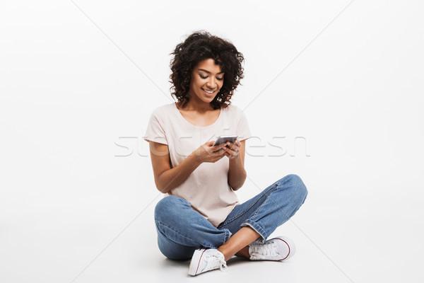 Portrait heureux jeunes afro Photo stock © deandrobot