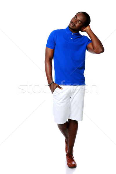 Pensive africaine homme blanche noir Photo stock © deandrobot