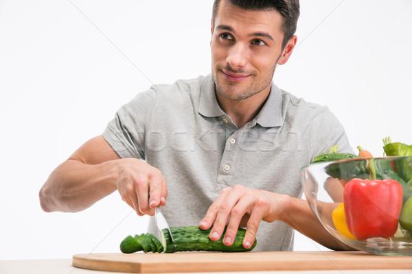Feliz homem pepino isolado Foto stock © deandrobot
