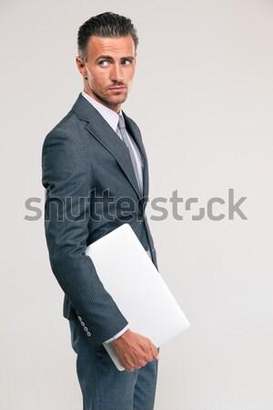 Peinzend zakenman laptop computer portret Stockfoto © deandrobot