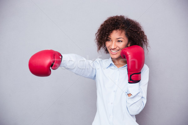 Afro femme gants de boxe portrait Photo stock © deandrobot
