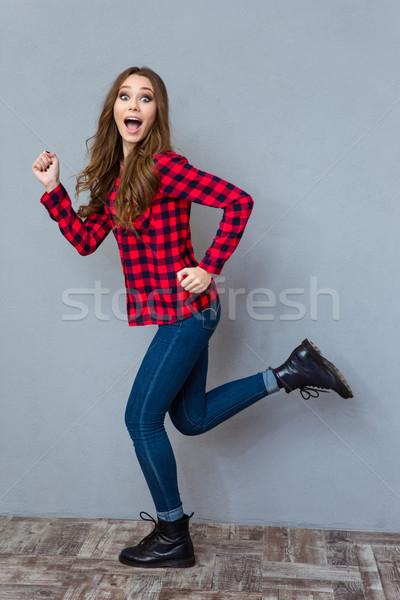 Komik heyecan verici kız çalışma güzel Stok fotoğraf © deandrobot