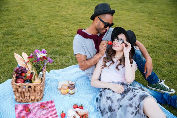 Tenero picnic esterna mangiare fresche Foto d'archivio © deandrobot
