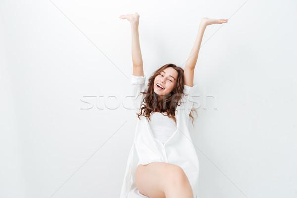 Portré mosolygó nő kiemelt felfelé kezek felemelt kezek Stock fotó © deandrobot