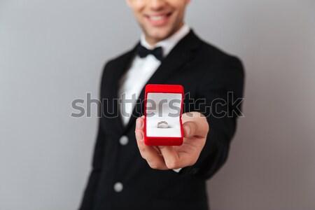 портрет жених кольца белый свадьба мужчины Сток-фото © deandrobot