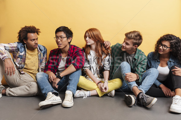 Multiethnic group of happy young people sitting listening their friend Stock photo © deandrobot