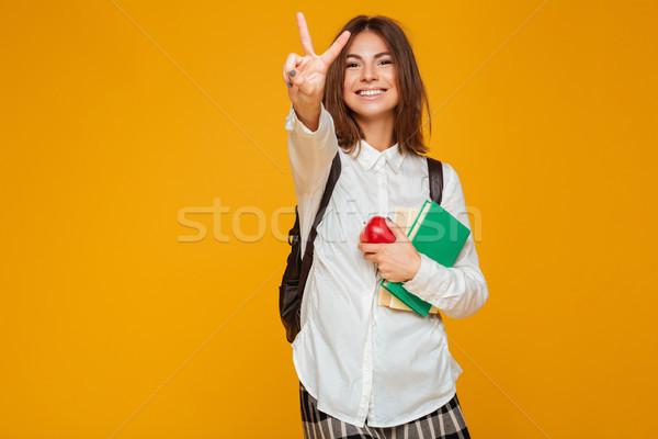 портрет довольно школьница книгах Сток-фото © deandrobot