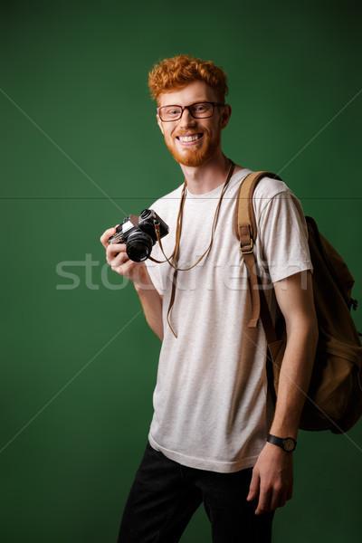 肖像 笑みを浮かべて あごひげを生やした ヒップスター レトロな カメラ ストックフォト © deandrobot
