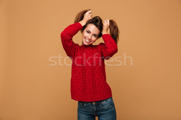 滑稽 女子 毛線衣 圖片 常設 商業照片 © deandrobot