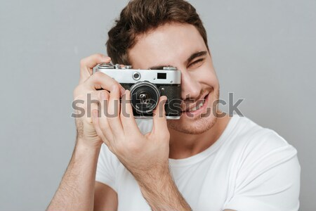 Portrait joyeux Homme photographe Photo stock © deandrobot