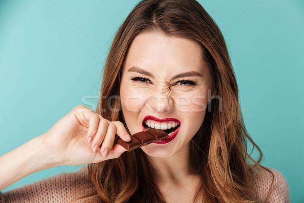 Retrato hambriento marrón mujer brillante Foto stock © deandrobot