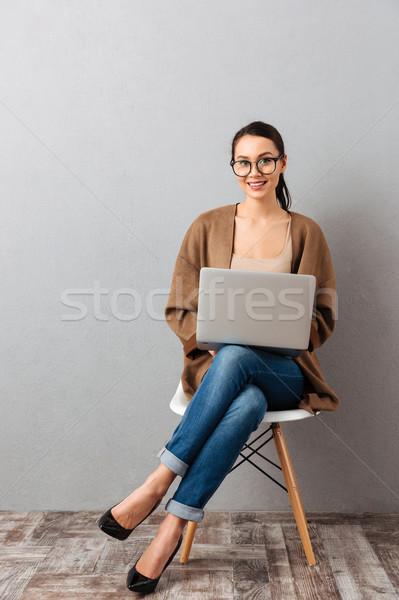 Stockfoto: Portret · gelukkig · toevallig · zakenvrouw