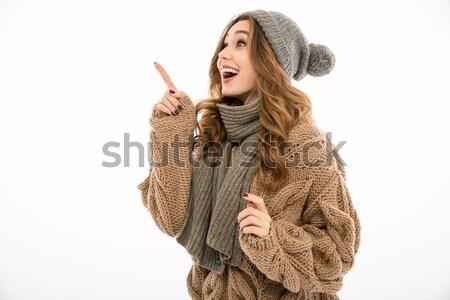 Sorridente jovem bonitinho mulher silêncio Foto stock © deandrobot