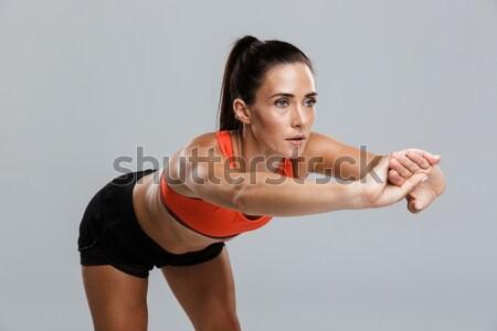 Ver de volta muscular forte masculino musculação em pé Foto stock © deandrobot