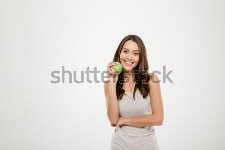 肖像 きれいな女性 長い 茶色の髪 見える カメラ ストックフォト © deandrobot