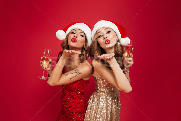 Portrait of two young attractive girls in christmas hats Stock photo © deandrobot