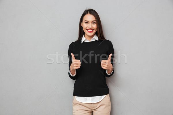 Feliz asiático mulher de negócios negócio roupa Foto stock © deandrobot