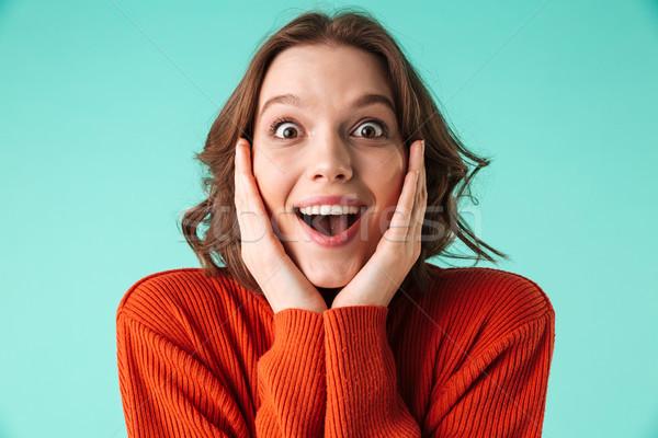 портрет возбужденный свитер глядя камеры Сток-фото © deandrobot