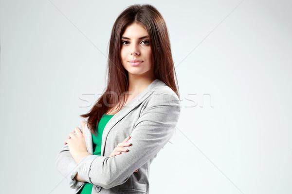 Portret jonge vrouw armen gevouwen homo vrouw Stockfoto © deandrobot