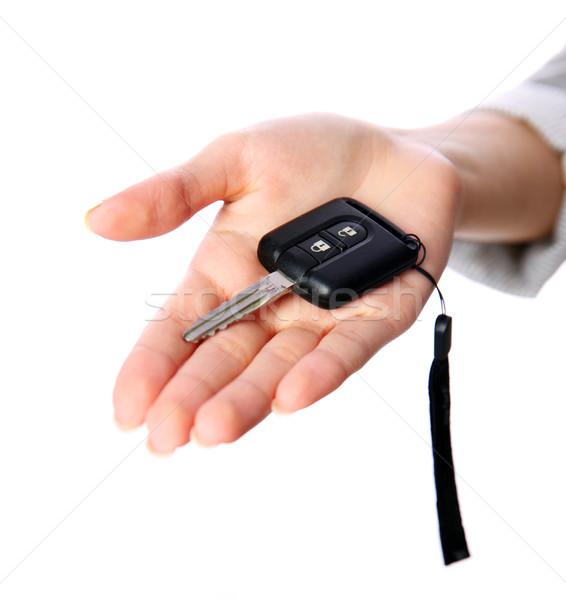 Closeup portrait of a female hand holding car keys Stock photo © deandrobot