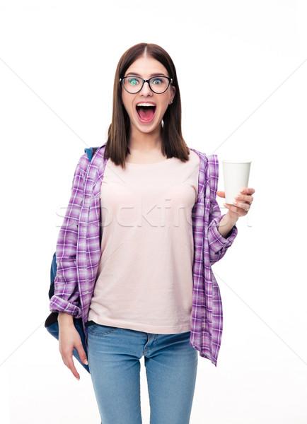 Stockfoto: Verwonderd · jonge · vrouw · beker · witte · naar