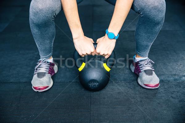Nő edz bogrács labda közelkép kép Stock fotó © deandrobot