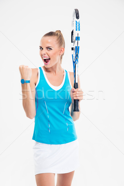 Portrait of a beautiful female tennis player screaming  Stock photo © deandrobot