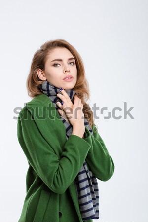 Maravilhado mulher falante telefone retrato jovem Foto stock © deandrobot