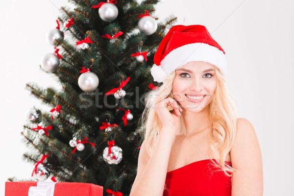 Uśmiechnięty młoda kobieta Święty mikołaj hat choinka portret Zdjęcia stock © deandrobot