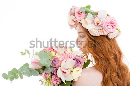 Tenero donna rose ghirlanda bouquet fiori Foto d'archivio © deandrobot
