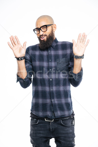 Afro american man showing stop sign with palms Stock photo © deandrobot
