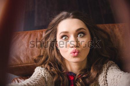 Tenero toccare faccia bellezza ritratto Foto d'archivio © deandrobot