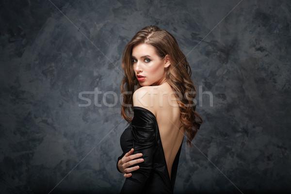 Sensueel aantrekkelijk jonge vrouw klassiek jurk Open Stockfoto © deandrobot