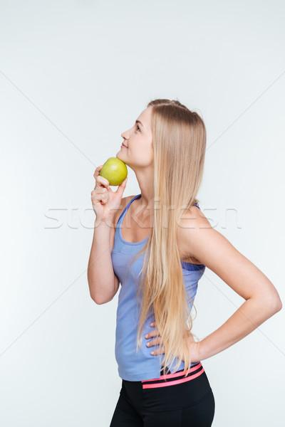 Foto d'archivio: Pensieroso · fitness · donna · mela · isolato · bianco