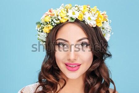 Close-up portrait of a sexy brunette wearing flower diadem Stock photo © deandrobot